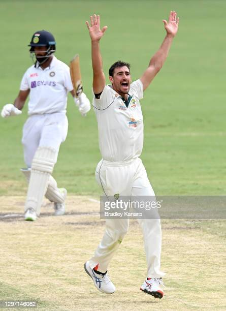Mitchell Starc of Australia unsuccessfully appeals to the umpire during day five of the 4th Test Match in the series between Australia and India at...