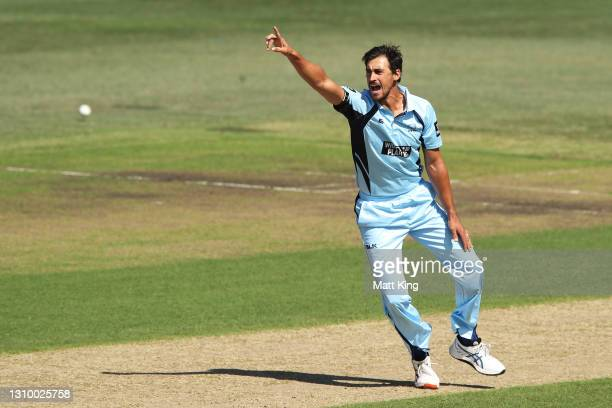 Mitchell Starc of New South Wales appeals during the Marsh One Day Cup match between New South Wales and Queensland at North Sydney Oval on March 31,...