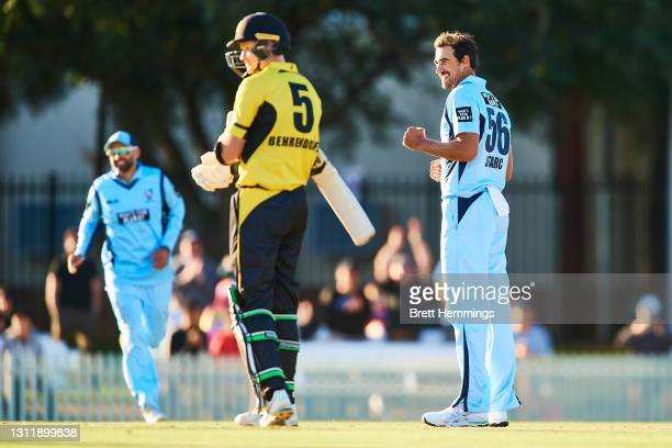 Mitchell Starc of NSW celebrates victory during the 2021 Marsh One Day Cup Final match between New South Wales and Western Australia at Bankstown...
