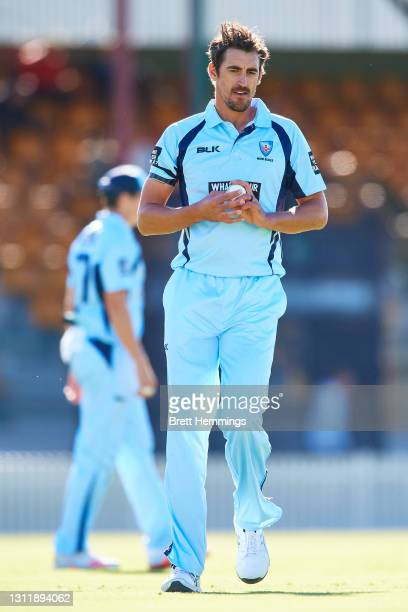 Mitchell Starc of NSW looks on during the 2021 Marsh One Day Cup Final match between New South Wales and Western Australia at Bankstown Oval on April...