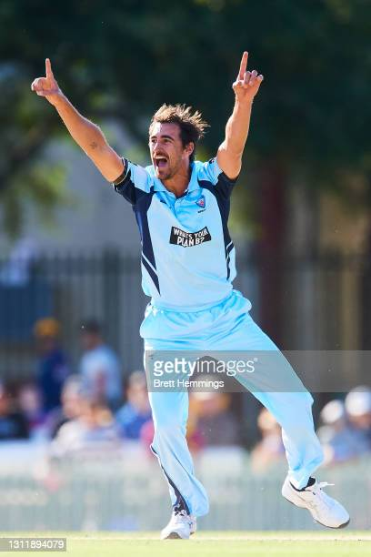 Mitchell Starc of NSW unsuccessfully appeals for a wicket during the 2021 Marsh One Day Cup Final match between New South Wales and Western Australia...