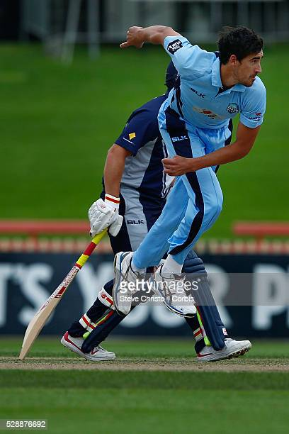 Mitchell Starc of the Blues bowling against the Bushrangers during the Matador BBQ's OneDay Cup between New South Wales Blues and Victorian...