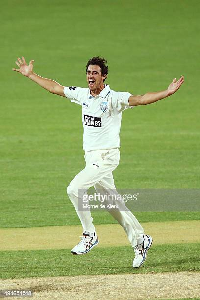 Mitchell Starc of the Blues celebrates after getting the wicket of Mark Cosgrove of the Redbacks during day one of the Sheffield Shield match between...