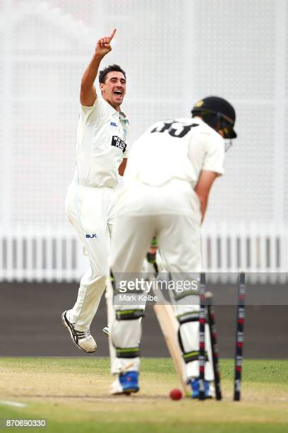 Mitchell Starc of the Blues celebrates bowling Simon Mackin of the Warriors to take a hattrick during day three of the Sheffield Shield match between...