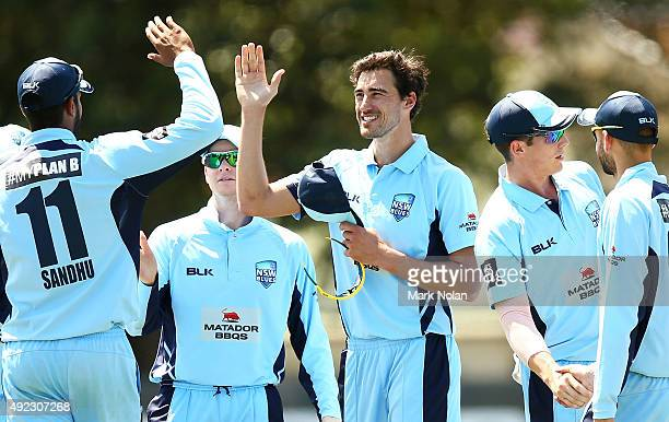Mitchell Starc of the Blues celebrates his fifth wicket with team mates during the Matador BBQs One Day Cup match between Tasmania and New South...