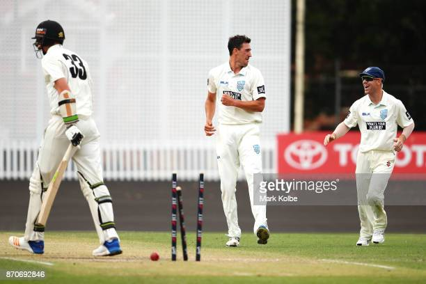 Mitchell Starc of the Blues celebrates with David Warner of the Blues after bowling Simon Mackin of the Warriors to take a hattrick during day three...