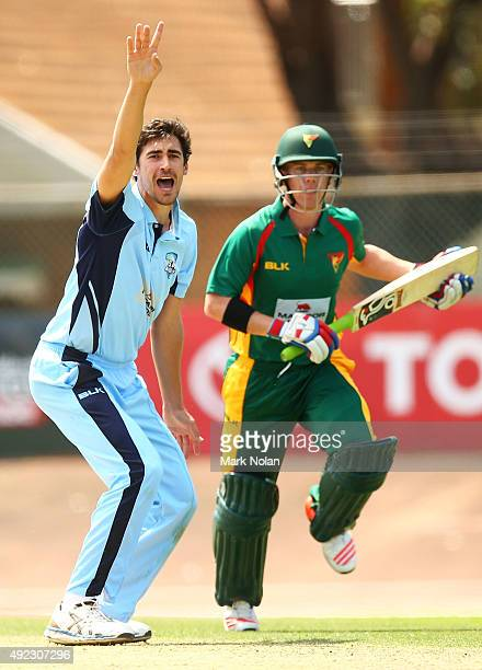 Mitchell Starc of the Blues successfuly appeals for the wicket of Xavier Doherty of the Tigers during the Matador BBQs One Day Cup match between...