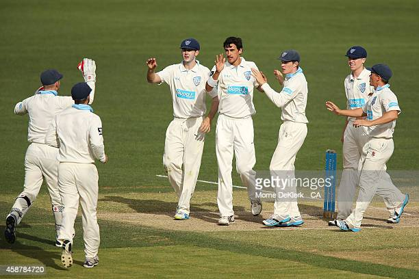 Mitchell Starc of the NSW Blues is congratulated by teammates after he got the wicket of Phillip Hughes of the SA Redbacks during day four of the...