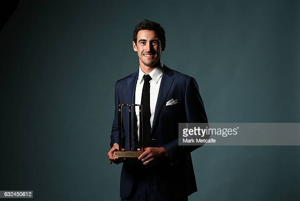 Mitchell Starc poses after winning the Test Player of the Year award during the 2017 Allan Border Medal at The Star on January 23 2017 in Sydney...