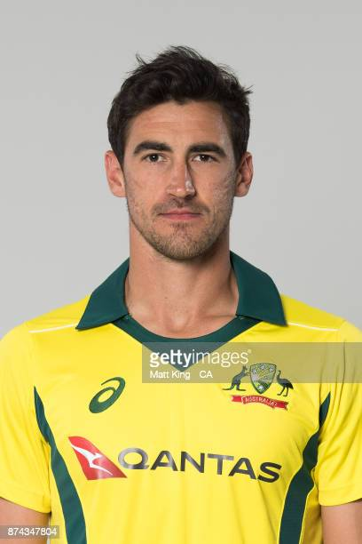 Mitchell Starc poses during the Australia One Day International Team Headshots Session at Intercontinental Double Bay on October 15 2017 in Sydney...
