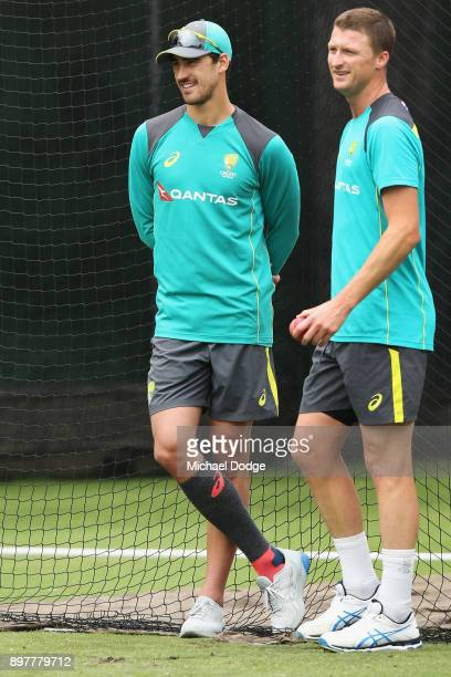 Mitchell Starc ruled out with injury looks on next to his possible replacement Jackson Bird walk during an Australian nets session at the Melbourne...