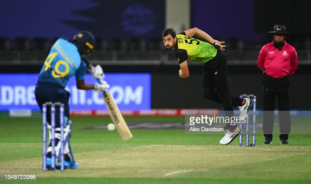 Mitchell Start of Australia in bowling action during the ICC Men's T20 World Cup match between Australia and Sri Lanka at Dubai International Stadium...