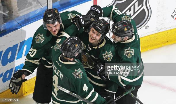 Mitchell Stephens of the London Knights celebrates his overtime wiining goal against the Erie Otters in Game Six of the OHL Western Conference...