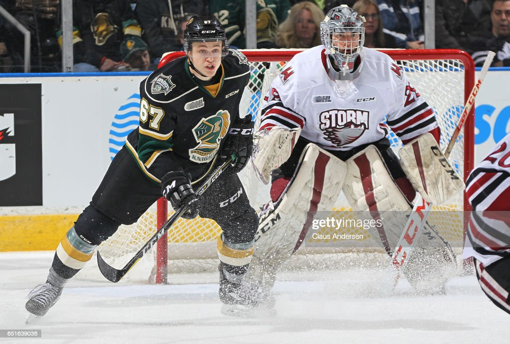 Mitchell Stephens #67 of the London Knights looks for a puck to tip against Liam Herbst #29 of the Guelph Storm during an OHL game at Budweiser Gardens on March 9, 2017 in London, Ontario, Canada. The Knights defeated the Storm 8-2.