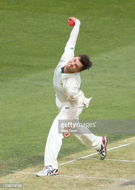 Mitchell Swepson of Australia bowls during the Four Day match between Australia A and the England Lions at Melbourne Cricket Ground on February 23...