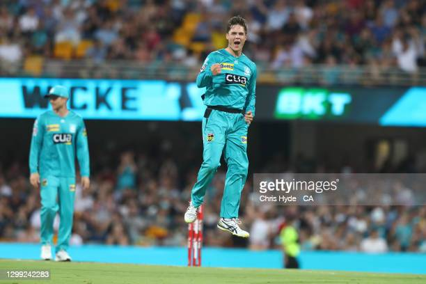 Mitchell Swepson of the Heat celebrates dismissing Matthew Renshaw of the Strikers during the Big Bash League Eliminator Final match between the...