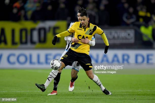 Mitchell te Vrede of NAC Breda Robin Propper of Heracles Almelo during the Dutch Eredivisie match between NAC Breda v Heracles Almelo at the Rat...