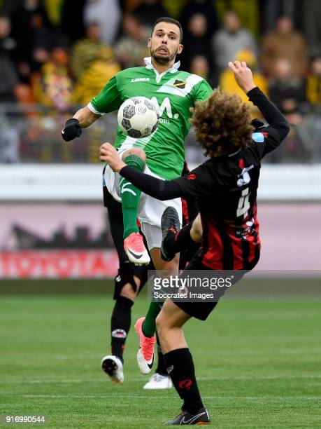 Mitchell te Vrede of NAC Breda Wout Faes of Excelsior during the Dutch Eredivisie match between Excelsior v NAC Breda at the Van Donge De Roo Stadium...