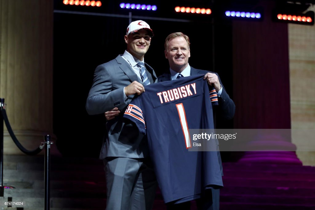Mitchell Trubisky of North Carolina poses with Commissioner of the National Football League Roger Goodell after being picked #2 overall by the Chicago Bears (from 49ers) during the first round of the 2017 NFL Draft at the Philadelphia Museum of Art on April 27, 2017 in Philadelphia, Pennsylvania.