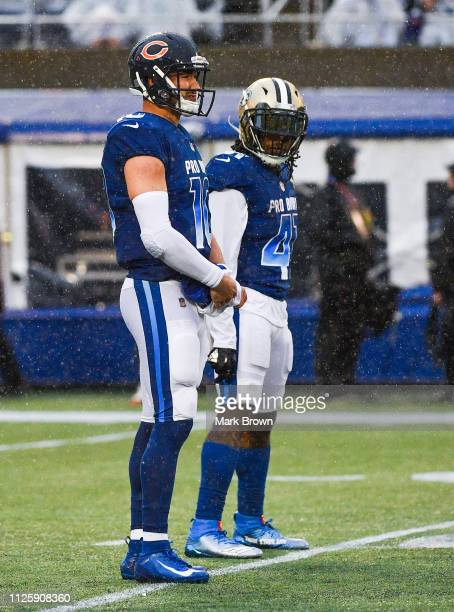 Mitchell Trubisky of the Chicago Bears and Alvin Kamara of the New Orleans Saints in action during the 2019 NFL Pro Bowl at Camping World Stadium on...