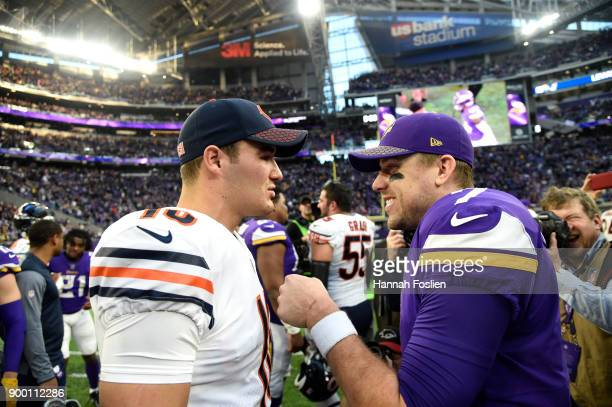 Mitchell Trubisky of the Chicago Bears and Case Keenum of the Minnesota Vikings greet each other after the game on December 31 2017 at US Bank...