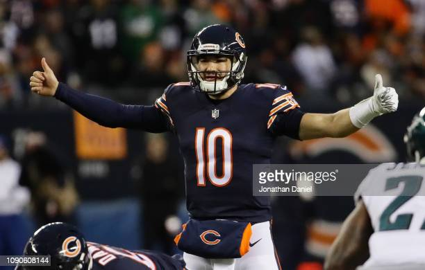 Mitchell Trubisky of the Chicago Bears calls a play against the Philadelphia Eagles in the first half of the NFC Wild Card Playoff game at Soldier...