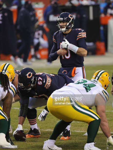 Mitchell Trubisky of the Chicago Bears calls out a formation against the Green Bay Packer defense at Soldier Field on January 03, 2021 in Chicago,...