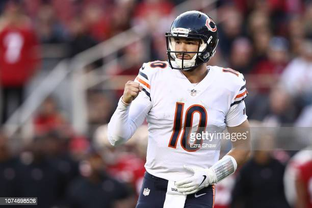 Mitchell Trubisky of the Chicago Bears celebrates after a touchdown against the San Francisco 49ers during their NFL game at Levi's Stadium on...