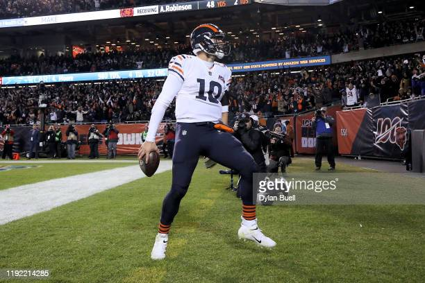 Mitchell Trubisky of the Chicago Bears celebrates after scoring a touchdown in the fourth quarter against the Dallas Cowboys at Soldier Field on...