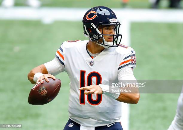 Mitchell Trubisky of the Chicago Bears drops back to pass during the first quarter of an NFL game against the Atlanta Falcons at Mercedes-Benz...