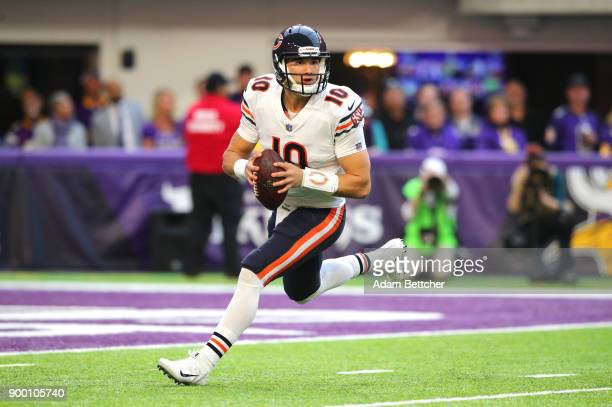 Mitchell Trubisky of the Chicago Bears drops back to pass the ball in the third quarter of the game against the Minnesota Vikings on December 31 2017...