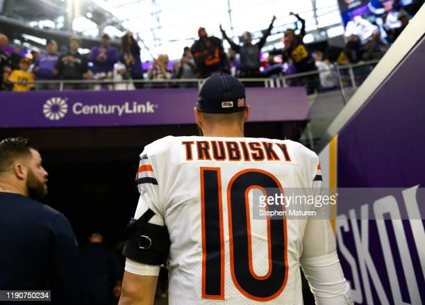 Mitchell Trubisky of the Chicago Bears exits the field after the game against the Minnesota Vikings at U.S. Bank Stadium on December 29, 2019 in...