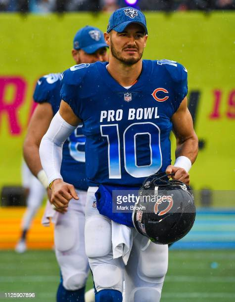 Mitchell Trubisky of the Chicago Bears gets introduced before the 2019 NFL Pro Bowl at Camping World Stadium on January 27 2019 in Orlando Florida