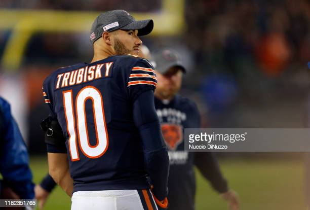 Mitchell Trubisky of the Chicago Bears glances at the video board during the fourth quarter against the New Orleans Saints at Soldier Field on...