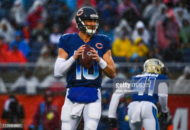 Mitchell Trubisky of the Chicago Bears in action during the 2019 NFL Pro Bowl at Camping World Stadium on January 27 2019 in Orlando Florida