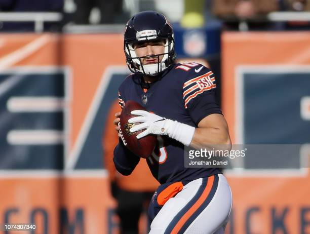 Mitchell Trubisky of the Chicago Bears looks for a receiver against the Green Bay Packers at Soldier Field on December 16 2018 in Chicago IllinoisThe...