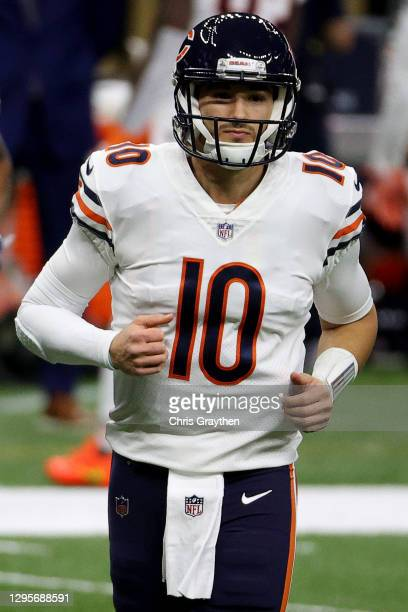 Mitchell Trubisky of the Chicago Bears looks on during the first quarter in the NFC Wild Card Playoff game against the New Orleans Saints at Mercedes...