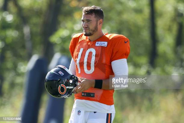 Mitchell Trubisky of the Chicago Bears looks on during training camp at Halas Hall on September 02, 2020 in Lake Forest, Illinois.