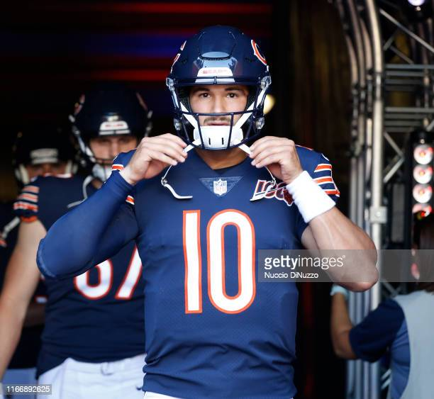 Mitchell Trubisky of the Chicago Bears looks on prior to a preseason game against the Carolina Panthers at Soldier Field on August 08 2019 in Chicago...
