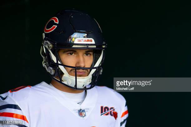 Mitchell Trubisky of the Chicago Bears looks on prior to the game against the Philadelphia Eagles at Lincoln Financial Field on November 3 2019 in...