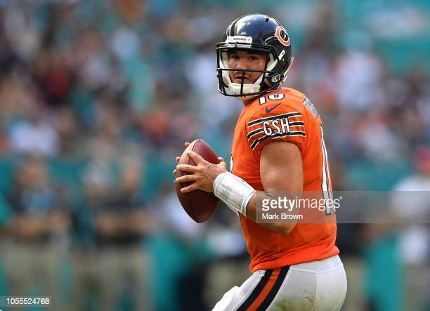 Mitchell Trubisky of the Chicago Bears looks to pass against the Miami Dolphins at Hard Rock Stadium on October 14 2018 in Miami Florida