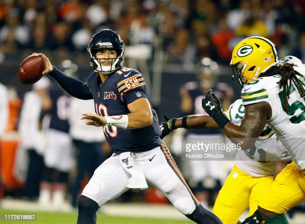 Mitchell Trubisky of the Chicago Bears looks to pass during the first quarter against the Green Bay Packers at Soldier Field on September 05 2019 in...