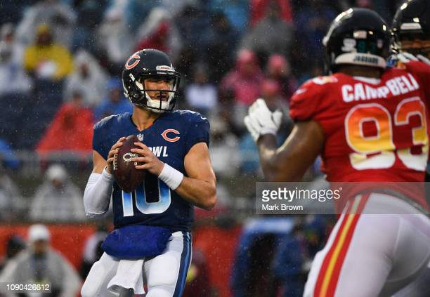 Mitchell Trubisky of the Chicago Bears looks to pass in the third quarter during the 2019 NFL Pro Bowl at Camping World Stadium on January 27 2019 in...