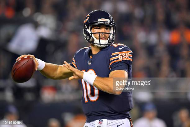 Mitchell Trubisky of the Chicago Bears looks to pass the ball against the Seattle Seahawks at Soldier Field on September 17 2018 in Chicago Illinois