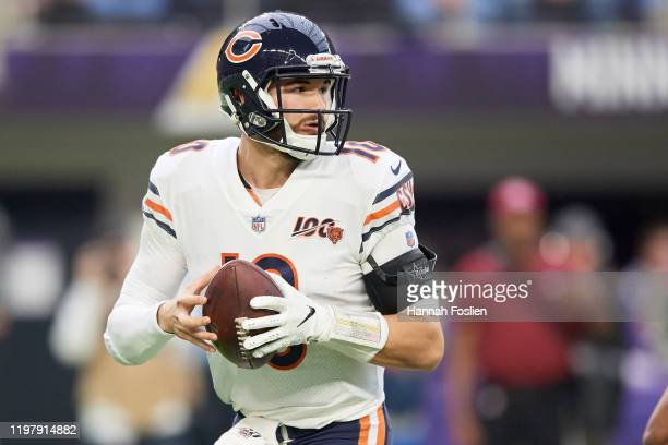 Mitchell Trubisky of the Chicago Bears looks to pass the ball against the Minnesota Vikings during the game at U.S. Bank Stadium on December 29, 2019...