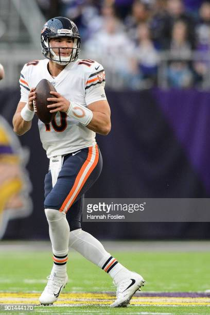 Mitchell Trubisky of the Chicago Bears looks to pass the ball against the Minnesota Vikings during the game on December 31 2017 at US Bank Stadium in...