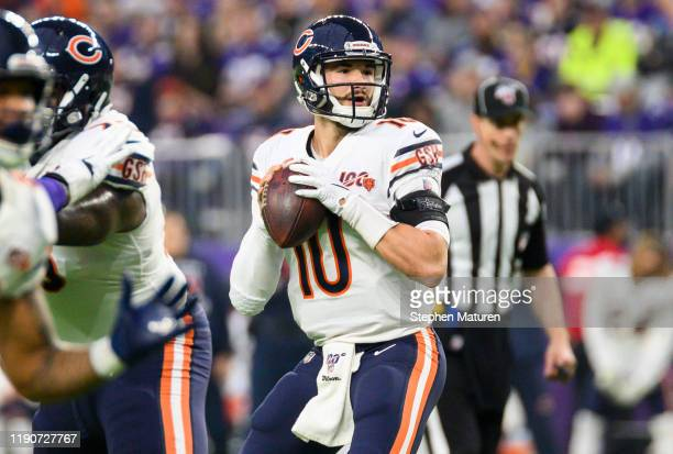 Mitchell Trubisky of the Chicago Bears looks to pass the ball in the first quarter of the game against the Minnesota Vikings at U.S. Bank Stadium on...