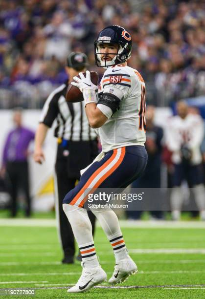 Mitchell Trubisky of the Chicago Bears looks to pass the ball in the first quarter of the game against the Minnesota Vikings at US Bank Stadium on...
