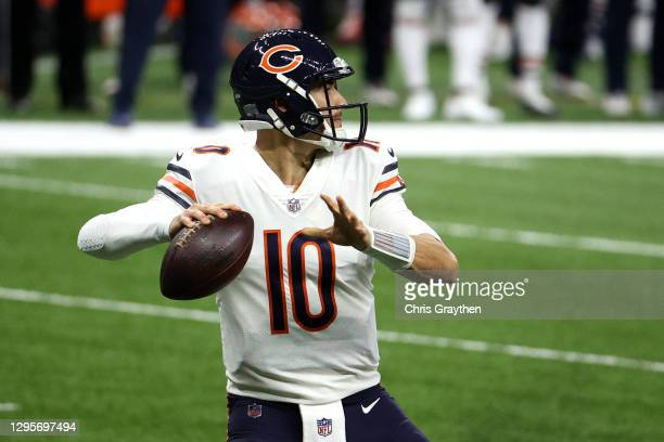 Mitchell Trubisky of the Chicago Bears looks to throw a pass against the New Orleans Saints during the first quarter in the NFC Wild Card Playoff...