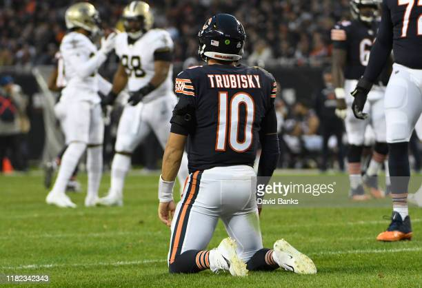 Mitchell Trubisky of the Chicago Bears on the field after being hurried by the New Orleans Saints during the second half at Soldier Field on October...